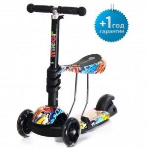 Детский трёхколёсный самокат-беговел Scooter Micar Rider 3 в 1 с сиденьем и светящимися колёсами Graffiti - 1