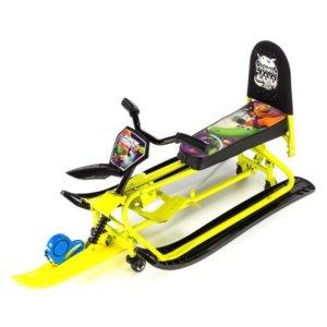 Детский снегокат-трансформер с колесиками и спинкой Small Rider Snow Comet 2 Lime
