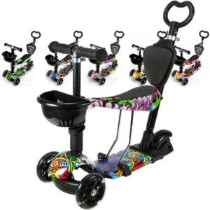 Детский трёхколёсный самокат-беговел 5 в 1 с сиденьем, родительской ручкой и светящимися колёсами 21st Scooter 5 in 1 Print
