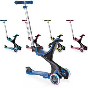 Детские самокаты 5 в 1 с широким сиденьем, родительской ручкой, подставкой для ног и светящимися колёсами Globber EVO Comfort Lights 5 in 1